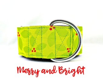 """Green Holly Martingale Collar: Bright Holiday, Christmas, Winter Pattern; 1"""",1.5"""",2"""" widths; adjustable sizing; satin lined; Silver Hardware"""
