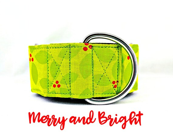 "Green Holly Martingale Collar: Bright Holiday, Christmas, Winter Pattern; 1"",1.5"",2"" widths; adjustable sizing; satin lined; Silver Hardware"