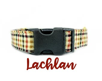 """Beige Fall Plaid Dog Collar: Brass Hardware; Burberry style print; satin lined; 1"""",1.5"""",2"""" widths available. Adjustable lengths"""