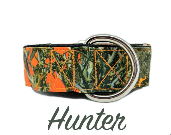 "Orange Camouflage Martingale Dog Collar: Canvas True Timber print; 1"", 1.5"", 2"" widths available; adjustable length; satin lined"