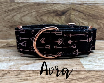 "Rose Gold Arrow Martingale Dog Collar; Rose Gold Hardware; Satin lined; 1"" and 1.5"" width martingales available"