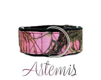 """Pink Martingale Dog Collar: True Timber camouflage print; black satin lined; 1"""",1.5"""",2"""" widths available; adjustable length; silver hardware"""