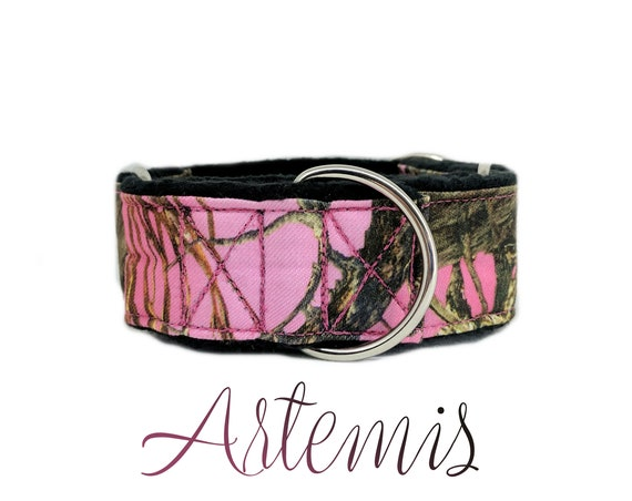 "Pink Martingale Dog Collar: True Timber camouflage print; black satin lined; 1"",1.5"",2"" widths available; adjustable length; silver hardware"