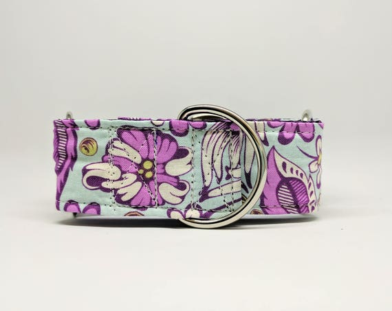 Flower print Martingale Dog Collar: purple floral on teal background, purple satin lined, adjustable, silver hardware