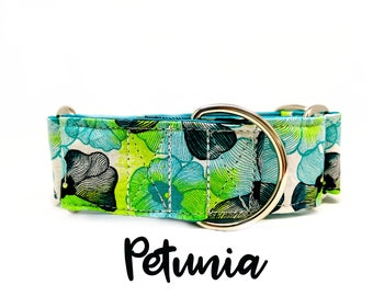 "Flower Martingale Collar: Floral blue and green print, teal satin lining, 1"", 1.5"", 2"" widths available, silver hardware, adjustable sizing"