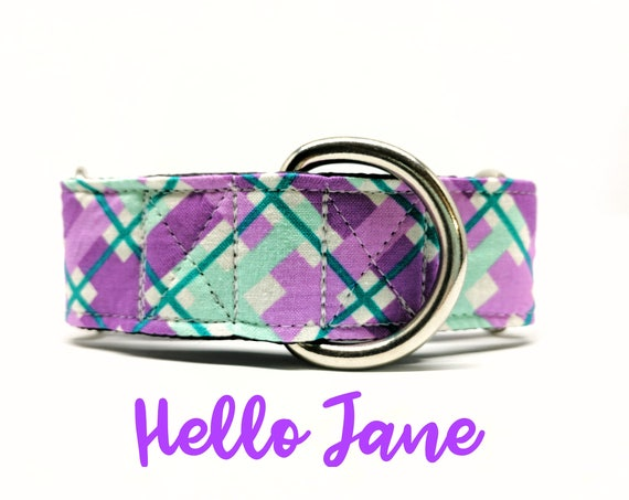 "Martingale Dog Collar: Plaid/ Argyle, Purple and Blue. Girly dog collar. 1"", 1.5"", 2"" widths availabe"