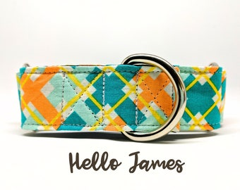 """Martingale Dog Collar: Arglye Plaid Print in Orange and Teal. Silver Hardware. 1"""", 1.5"""", 2"""" widths available."""