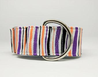 Halloween Martingale Dog Collar: Striped Purple, orange and black. Adjustable and satin lined