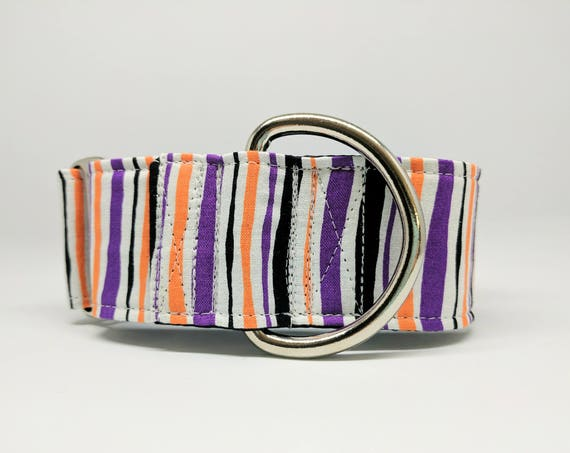 Halloween Martingale Dog Collar: Striped Purple, orange and black. Adjustable and satin lined