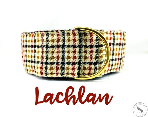 """Beige Fall Plaid Martingale Collar: Brass Hardware; Burberry style print; satin lined; 1"""",1.5"""",2"""" widths available. Adjustable lengths"""