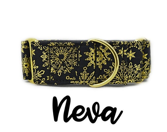 "Gold Snowflake Martingale Dog Collar: Brass hardware; black satin lined; Gold metallic print; 1"", 1.5"", 2"" width"