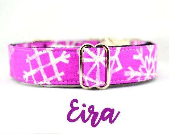 "Buckle Dog Collar: Purple / fuchsia Snowflakes Winter, Holiday, Christmas Pattern, adjustable length, 1"", 1.5"", 2"" width, satin lined"