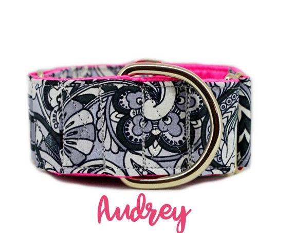 "Paisley Martingale Dog Collar; Black and Grey Swirls; Hot pink satin lining; 1"",1.5"",2"" widths available; adjustable lengths; girly pattern"