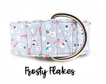 "Snowmen Martingale Collar: Grey Sparkle with snowflakes and candy canes; 1"",1.5"",2"" widths; adjustable lengths; satin lined; Christmas"