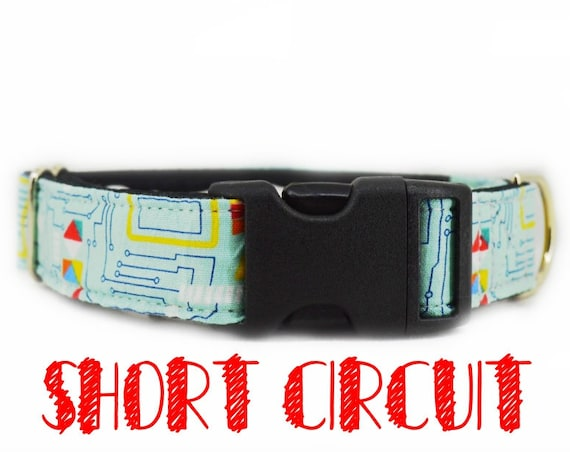 "Buckle dog collar: blue Circuit board, geeky computer print; black satin lined; available in 1"",1.5"",2"" widths, adjustable lengths"