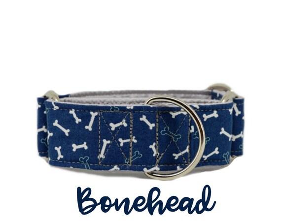 "Blue Bone Martingale Dog Collar: Dark Blue, Boy Collar; Dog Bone; 1"", 1.5"", 2"" widths available; grey satin lined; silver hardware"