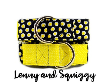 """Black and Yellow Martingale Dog Collars; co-ordinating collars for matching dogs; 1"""",1.5"""", 2"""" widths; adjustable lengths; satin lining"""