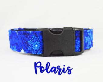 """Buckle Dog Collar: Winter Blue Snowflake Pattern; satin lined, adjustable length. 1"""", 1.5"""" and 2"""" widths available."""