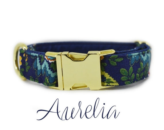 "Fall Floral Buckle Dog Collar: 1"" Brass Hardware; Dark blue satin lining; Customizable"