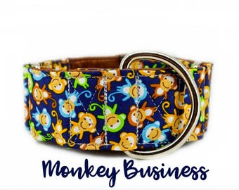 "Martingale Dog Collar: Monkey pattern; multi-colour; cute pattern; brown satin lining; available in 1"", 1.5"", 2"" widths; adjustable lenghts"