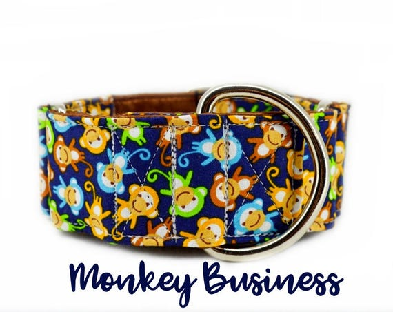 """Martingale Dog Collar: Monkey pattern; multi-colour; cute pattern; brown satin lining; available in 1"""", 1.5"""", 2"""" widths; adjustable lenghts"""