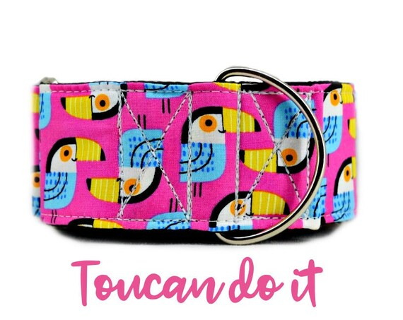 Pink Summer Martingale Dog Collar: Bright Toucan tropical bird print; satin lined;  adjustable sizing; multiple widths available