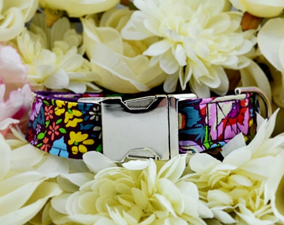 "Floral silver buckle Dog Collar: Bright flower print; Garden Party; Purple satin lined; 1"" width; SILVER HARDWARE; matching accessories"