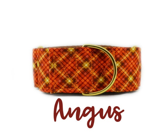 Orange Plaid Fall Martingale Dog Collar: Brass Hardware; Brown satin lined; Adjustable lengths; Made to order; Customizable