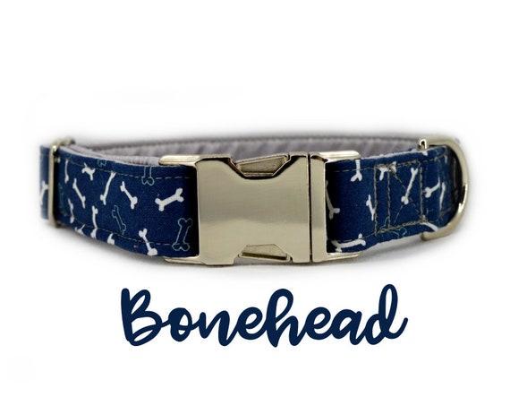 "Blue Bone Silver Buckle Dog Collar: Dark Blue, Boy Collar; Dog Bone; 1"" width; grey satin lined; silver hardware"