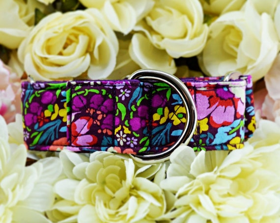 "Flower Martingale Dog Collar: Bright floral print; Garden Party; Purple satin lined; 1"", 1.5"", 2"" widths available; SILVER HARDWARE"