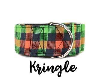 Red and Green Plaid Martingale Dog Collar: Christmas plaid pattern; multiple widths available; silver hardware