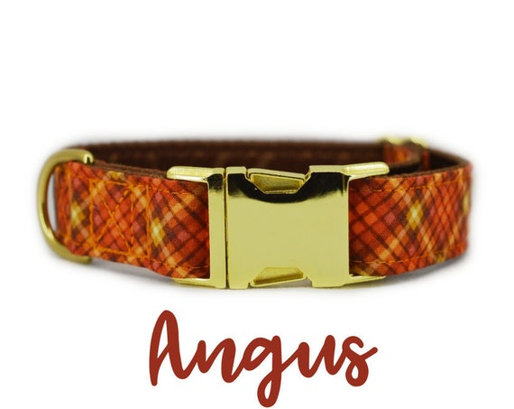 Orange Plaid Fall Dog Collar: Brass Buckle Hardware; Brown satin lined; Adjustable lengths; Made to order; Customizable