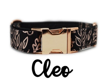 Floral Rose Gold Buckle Dog Collar: Metallic pink and black flower print; pink gold; satin lined; customizable