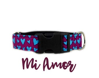 "Purple Dog Collar: Blue Hearts, Girly, Valentines, Love Pattern; buckle; 1"",1.5"", 2"" widths available; black satin lined; silver hardware"