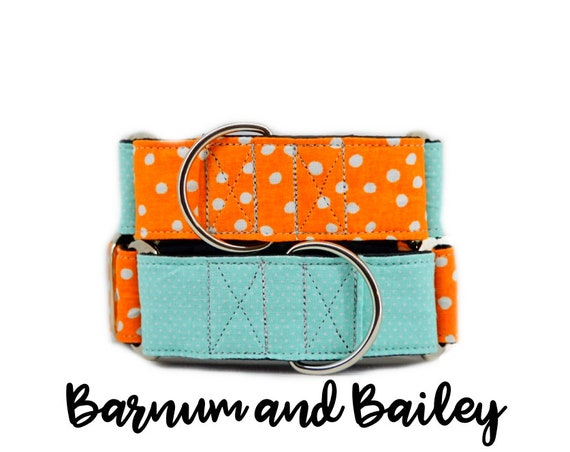 "Orange and Teal Martingale Dog Collars; Polka-dot print; co-ordinating collars; 1"",1.5"", 2"" widths; adjustable lengths; satin lining"