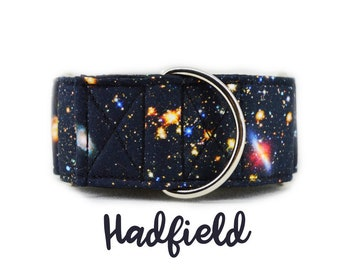 Space print Martingale Dog Collar: Galaxy print; silver hardware; customizable; adjustable prints; black satin lining
