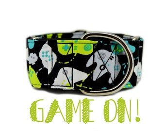 "Gamer Martingale Dog Collar; video game themed; black satin lined; silver hardware; adjustable lengths; 1"" , 1.5"", 2"" widths available"