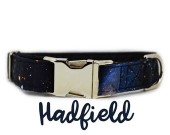 "Space print Dog Collar: 1"" silver buckle Galaxy print; silver hardware; customizable; adjustable prints; black satin lining"