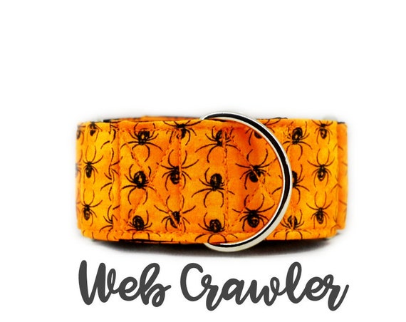 Orange Halloween Spider Martingale Dog Collar; Black satin lined; silver hardware; adjustable lengths