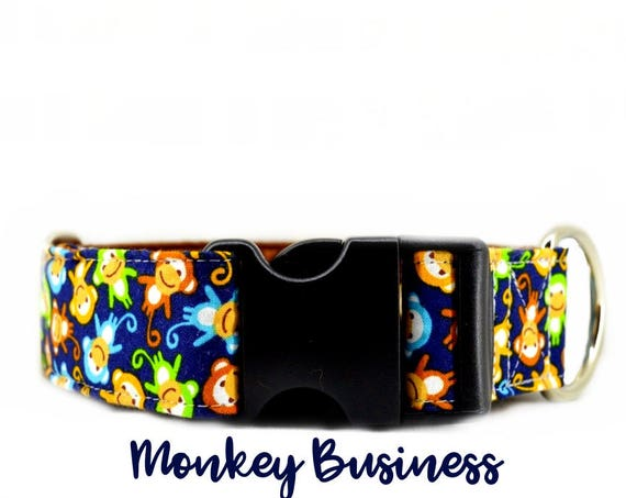 "Dog Collar: Monkey pattern; multi-colour; cute pattern; brown satin lining; available in 1"", 1.5"", 2"" widths; adjustable lenghts"