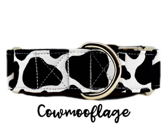 """Cow print Martingale Dog Collar: Spotted, Farm themed buckle collar; satin lined;  1"""", 1.5"""", 2"""" widths; adjustable lengths; made to order"""