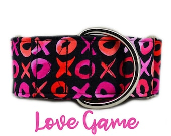 """Valentines Martingale Collar: X's and O's; Pink Girl Love Pattern ; 1"""",1.5"""",2"""" widths available; adjustable length; black satin lining"""