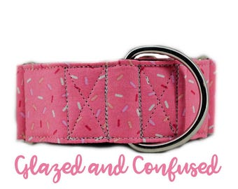 "Martingale Dog Collar: Pink Sprinkle Donut Print; Girl Collar; 1"",1.5"",2"" widths available; black satin lining; silver hardware; birthday"