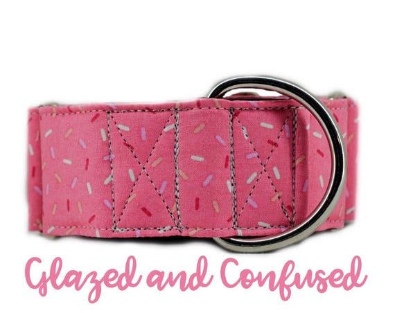 "Martingale Dog Collar: Pink Sprinkle Donut Print; Girl Collar; 1"",1.5"",2"" widths available; black satin lining; silver hardware; birthday"