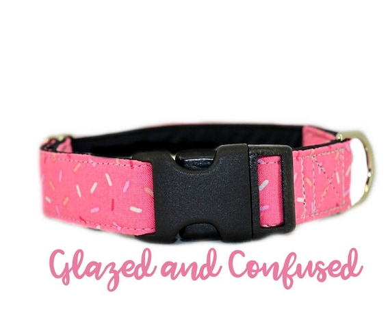 "Buckle Dog Collar: Pink Sprinkle Donut Print; Girl Collar; 1"",1.5"",2"" widths available; black satin lining; silver hardware; birthday"