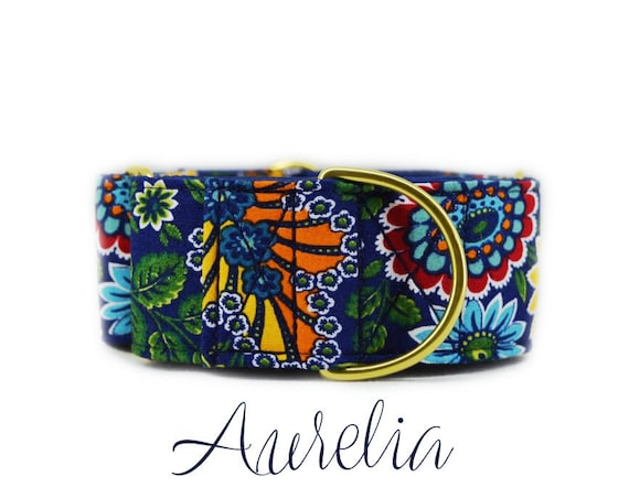 Fall Floral Martingale Dog Collar: Brass Hardware; Dark blue satin lining; Customizable