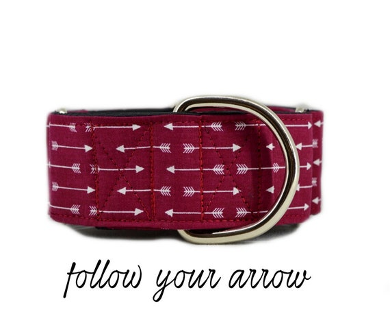 "Arrow Martingale Dog Collar: Maroon/ Burgundy; satin lined; 1"",1.5"",2"" widths available; adjustable length; perfect for greyhound & training"