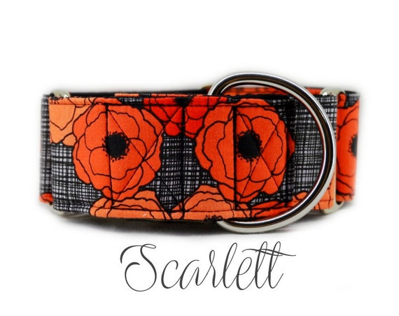 Red Poppy Martingale Dog Collar: Fall floral print; Made to order; adjustable lengths