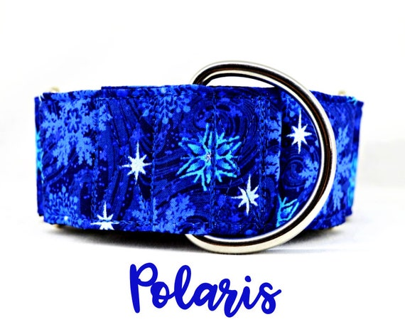 """Martingale Dog Collar: Winter Blue Snowflake Pattern; satin lined, adjustable length. 1"""", 1.5"""" and 2"""" widths available. SILVER HARDWARE"""