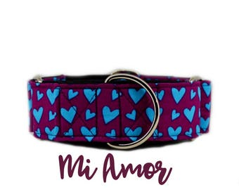 "Valentines Martingale Collar: Blue Hearts, Girly, Valentines, Love Pattern; 1"",1.5"", 2"" widths available; black satin lined; silver hardware"